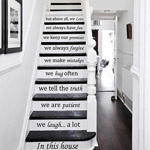 Wall Decals Staircase Quotes In this house... we love STAIR CASE Stairway Stairs Quote Wall Vinyl Decal Stickers Bedroom Murals