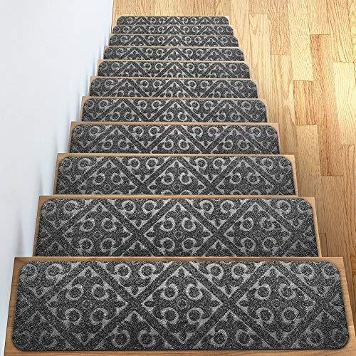 "Elogio Carpet Stair Treads Set of 13 Non Slip/Skid Rubber Runner Mats or Rug Tread - Indoor Outdoor Pet Dog Stair Treads Pads - Non-Slip Stairway Carpet Rugs (Gray) 8"" x 30"" Includes Adhesive Tape"
