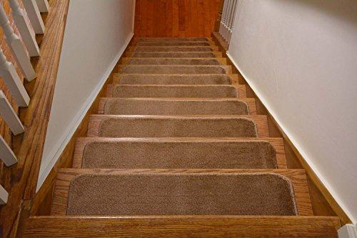 Comfy Stair Tread Treads Indoor Skid Slip Resistant Carpet Stair Tread Treads Machine Washable 8 1/2 inch x 30 inch (Set of 13, Beige)