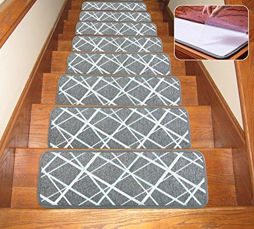 "Soloom Non-Slip Washable Stair Treads Carpet with Skid Resistant Rubber Backing Specialized for Indoor Wooden Steps (Set of 13) , 26""×10"", Grey"