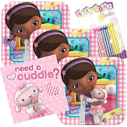 Lobyn Value Pack Disney Doc McStuffins Party Plates and Napkins Serves 16 With Birthday Candles