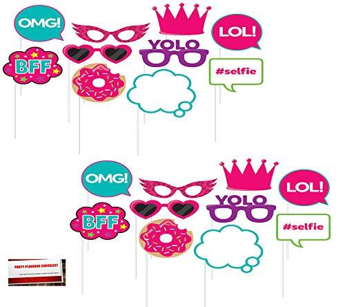 Girls Birthday Sleep Over (20 pcs) Party Photo Booth Props (Plus Party Planning Checklist by Mikes Super Store)