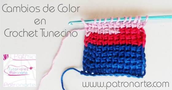 Cambios de Color en Crochet Tunecino - tunisian crochet color changes