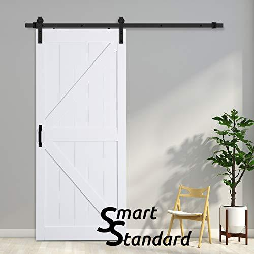 SMARTSTANDARD 36in x 84in Sliding Barn Door with 6.6ft BarnDoor Hardware Kit & Handle, Pre-Drilled Ready to Assemble Wood Slab Covered with Water-Proof PVC Surface (White K-Frame Panel)