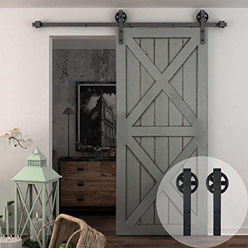 WINSOON 5-16FT Single Wood Sliding Barn Door Hardware Basic Black Big Spoke Wheel Roller Kit Garage Closet Carbon Steel Flat Track System (10FT)