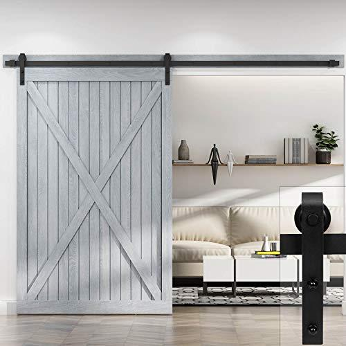 EaseLife 10 FT Heavy Duty Sliding Barn Door Hardware Track Kit - DIY Easy Install | Ultra Sturdy and Sliding Smooth Quiet | J Shape Hanger (10ft Track Single Door Kit)
