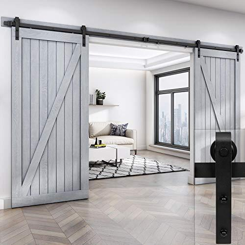 EaseLife 12 Foot Double Sliding Barn Door Hardware Track Kit-Heavy Duty | DIY Easy Install | Ultra Smooth Quiet | 12 Foot Rail Double Kit (Standard Hanger)