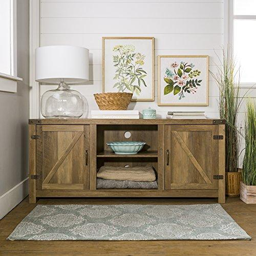 Home Accent Furnishings New 58 Inch Barn Door Television Stand in Rustic Oak Finish
