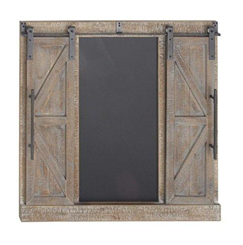 "Deco 79 Farmhouse 39"" X 40"" Rectangular Distressed Barn Door with Chalkboard Wooden Wall Decor, Brown/Metallic Gray"