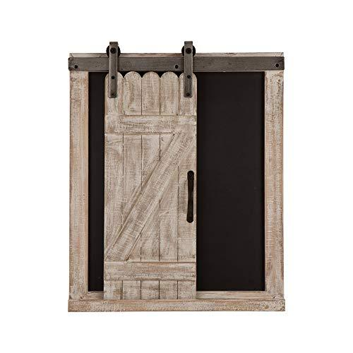 Glitzhome Rustic Wooden Chalkboard Barn Door Farmhouse Style Home Decor