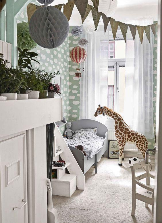 decoralinks | nordic room with mint kids wallpaper decorated with clouds