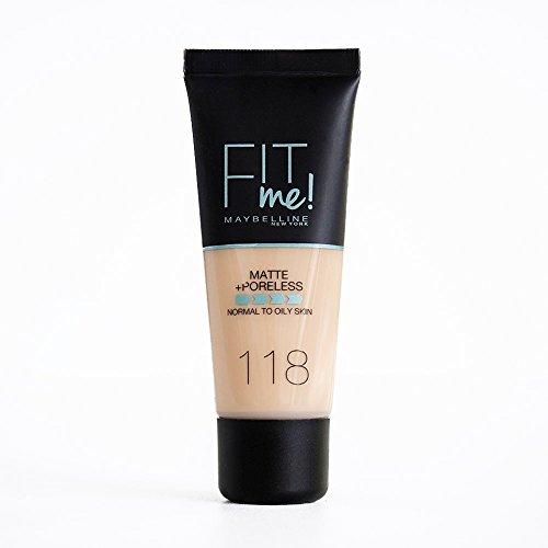 Maybelline New York Base de Maquillaje Fit Me (Mate y Sin poros), Tono 118 Light Beige - 30 ml