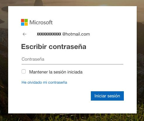iniciar sesión hotmail password