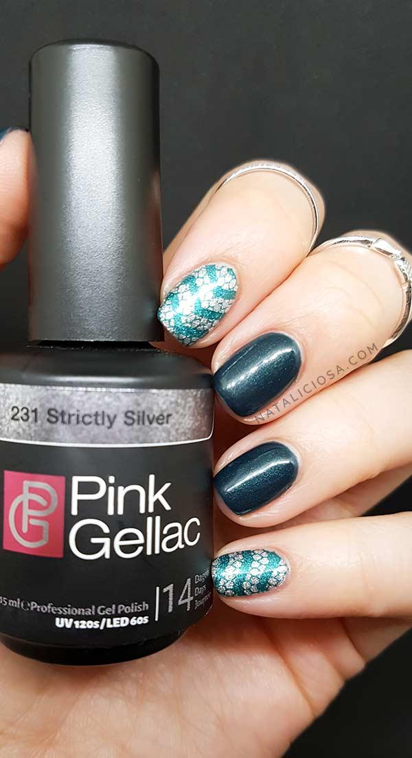 slytherin nail art ideas easy staping harry potter nails snake animal print manicure with pink gellac polish 231 strictly silver 232 chemistry green review