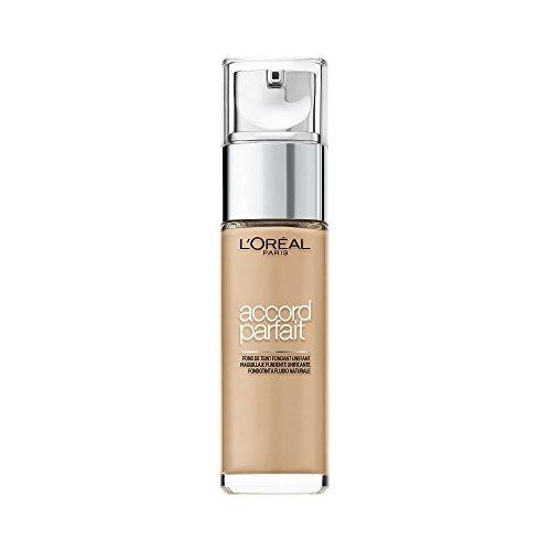 LOréal Paris Accord Parfait Base de Maquillaje con Acabado Natural, Tono Medio 4D Golden Natural - 30 ml