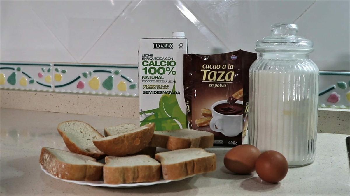 Ingredientes para hacer torrijas de chocolate en la Thermomix