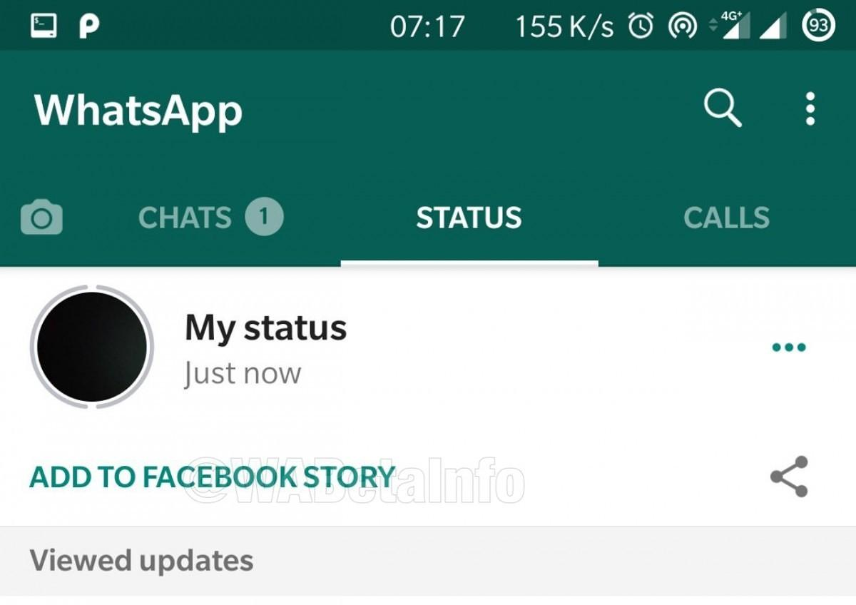 WhatsApp beta 2.19.151 - Historias de Facebook