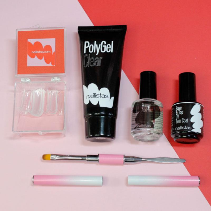 kit con bote de polygel primer top coat, moldes y pincel