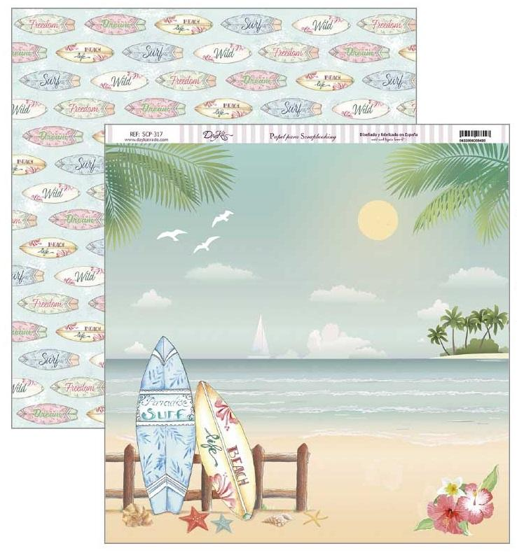 papel scrap fiesta tropical tablas de surf