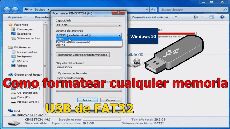 formatear usb windows 10