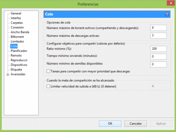 Configurar uTorrent - Preferencias 8