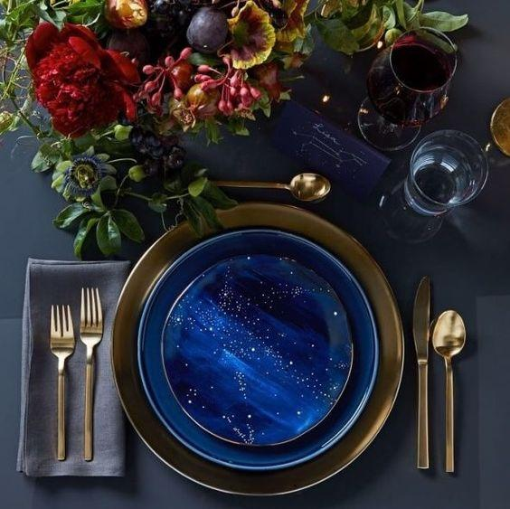 Navy and Gold Constellation Table Setting Decor
