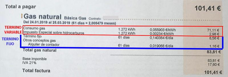 Término fijo y variable en una factura de gas natural