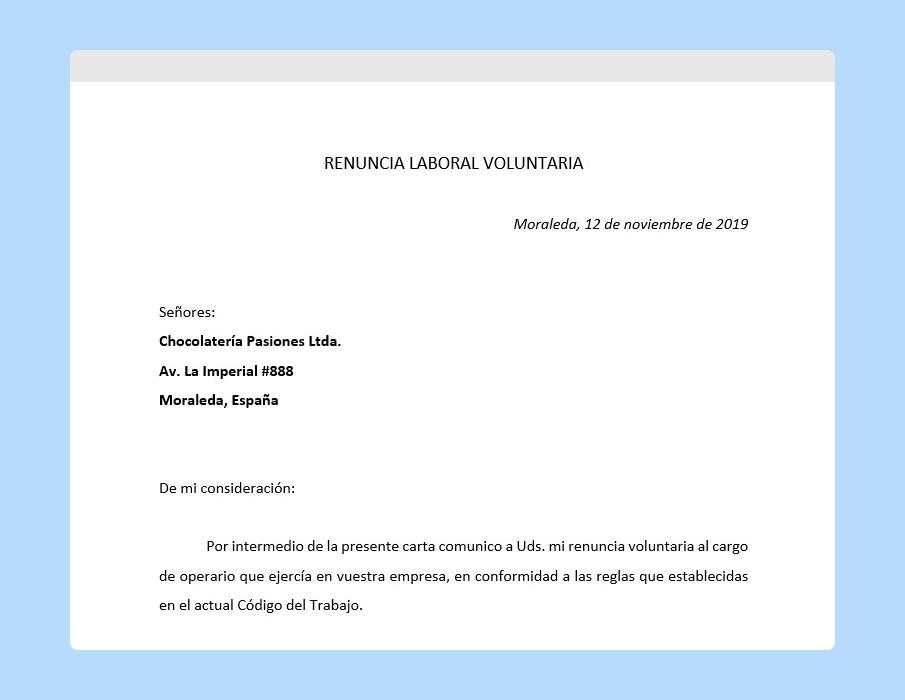 carta de renuncia voluntaria en word