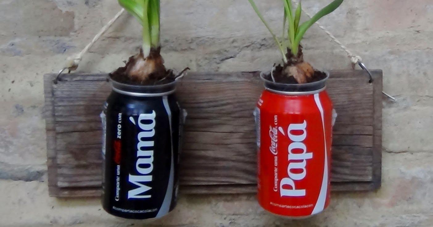 Macetas jard n vertical y farolillo hechos con latas - Macetas para jardin vertical ...