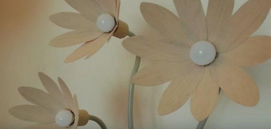 Cómo Hacer Una Lámpara De Pie De Flores De Madera Bricolaje