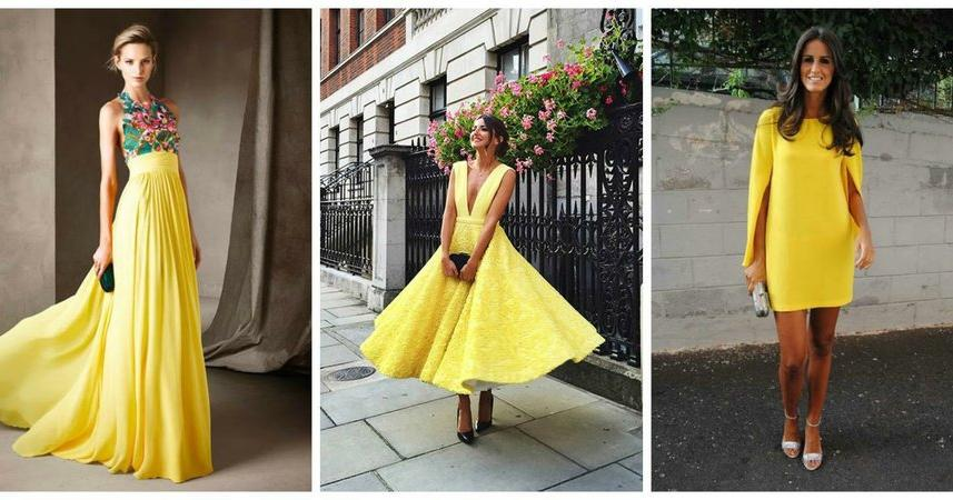 32370de5a4 Cómo combinar un vestido amarillo para ir de boda