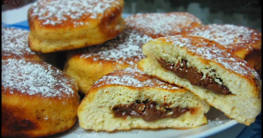 Bollitos a la sartén rellenos de crema de chocolate y avellanas