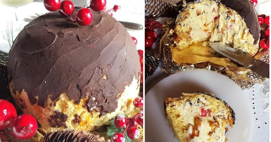Bomba de panettone rellena de helado y frutas confitadas cubierta de chocolate