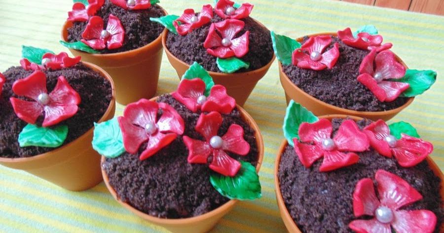 Cupcakes macetas de flores sabor Oreo