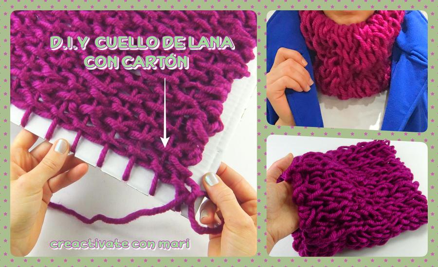 Diy Aprende a tejer cuellos de lana con un cartón | Manualidades
