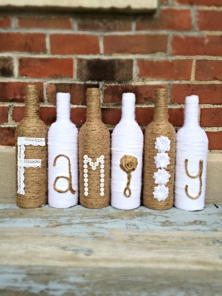 Resultado de imagen de botellas decoradas con yute