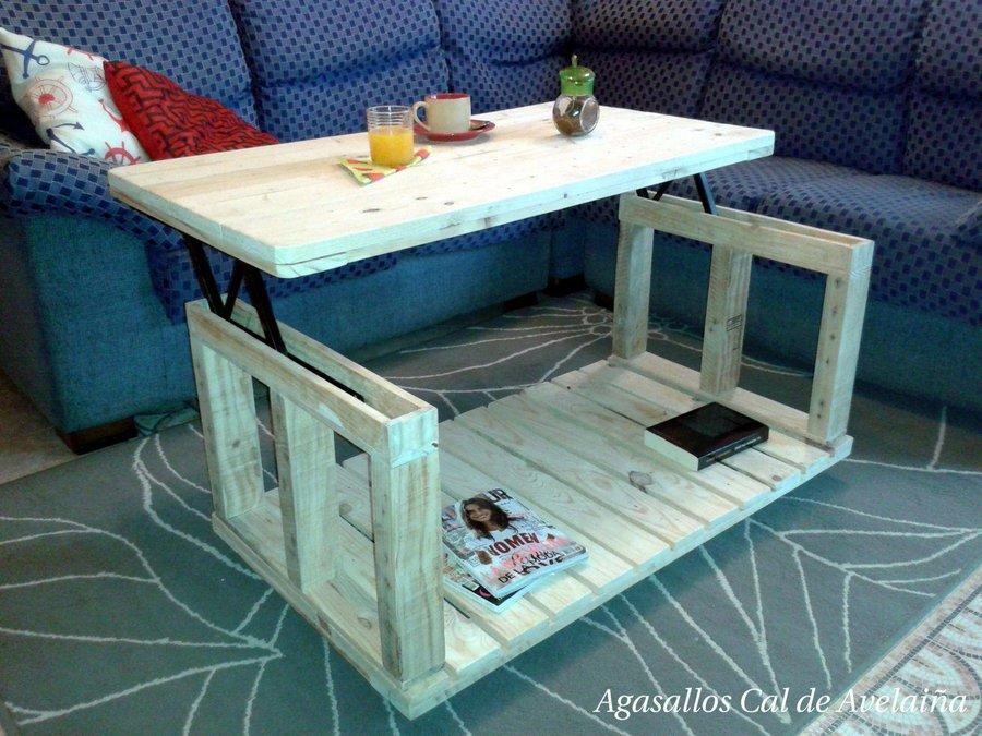 C mo hacer una mesa elevable con dos palets bricolaje for Como hacer una mesa con palets