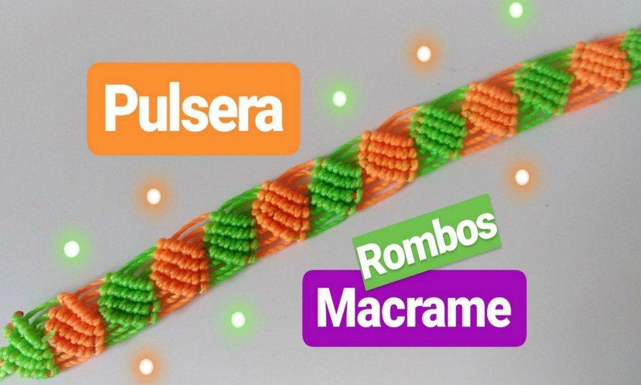 bac4944c2072 Cómo hacer una pulsera en hilo de rombos tejida en macrame ...