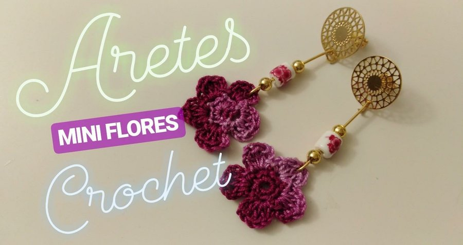 d97c311ec01f Cómo hacer unos pendientes en forma de flor a crochet