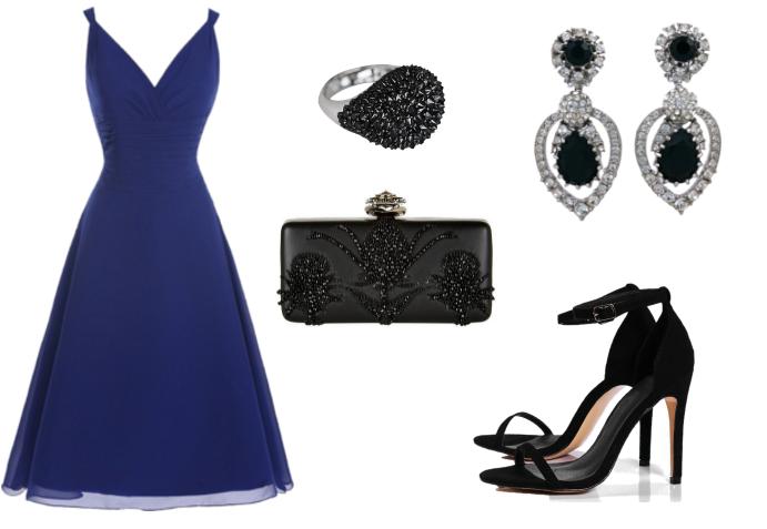 85c1ec3af Combinar un vestido azul con colores básicos