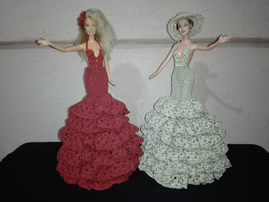 Vestido Para Barbie Tejido A Crochet Manualidades