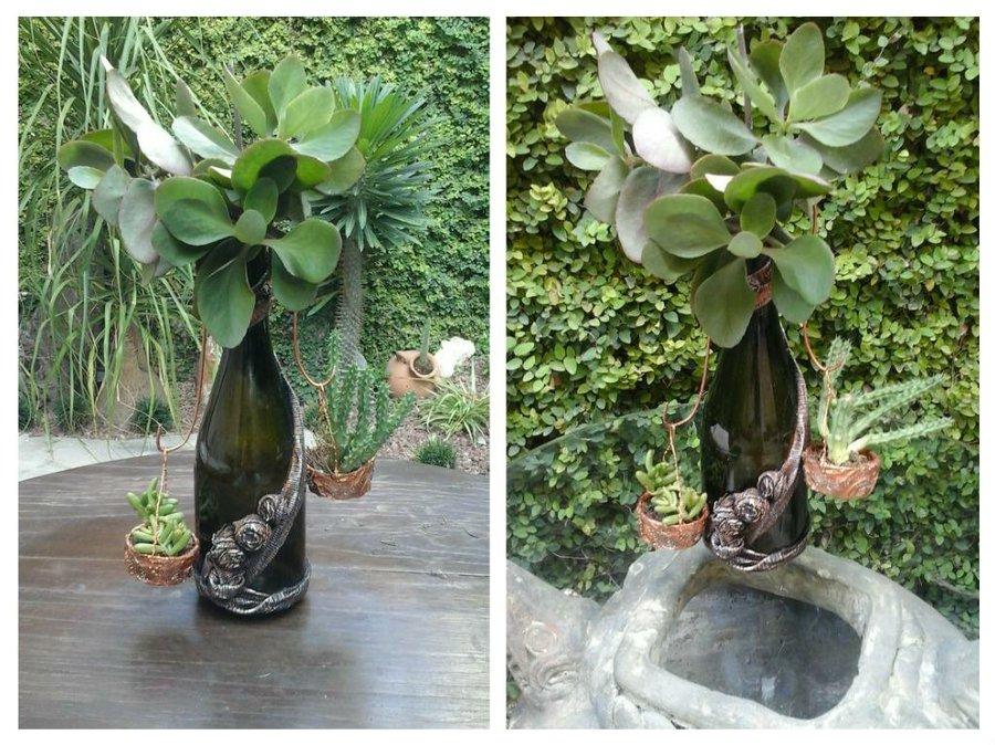 Jardin colgante con botellas de vino | Manualidades