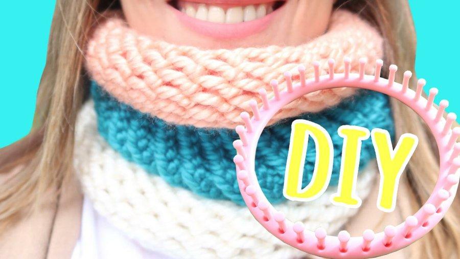 Cómo hacer un cuello de lana fácilmente sin saber tejer usando un ...