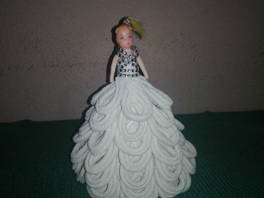 Lindo Vestido De Gala Para Muñeca Barbi Elaborado Con Papel