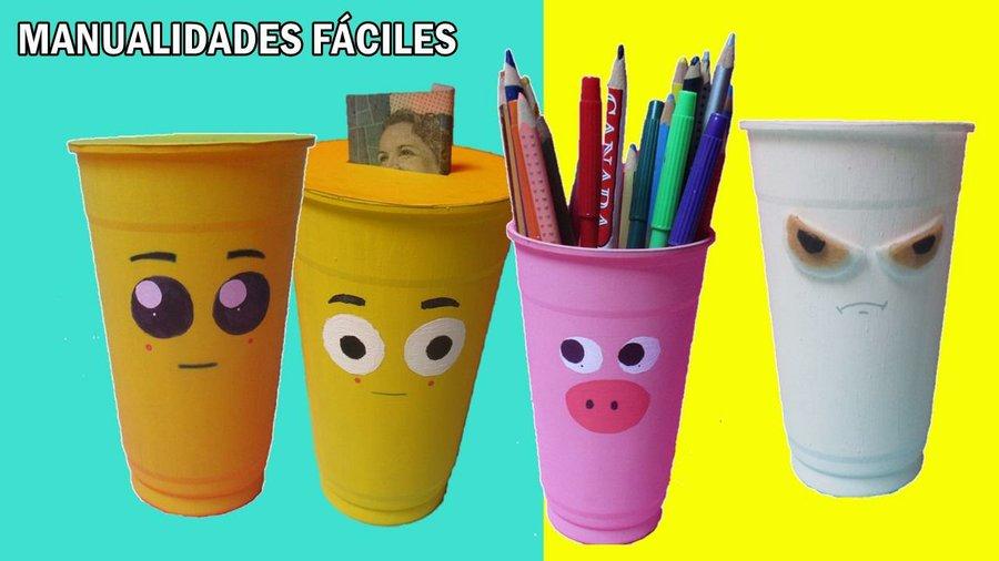 Manualidades f ciles con reciclaje manualidades - Decorar vasos plasticos para cumpleanos ...