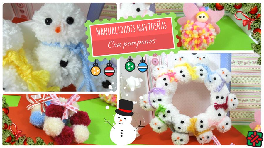 3 ideas diy f ciles para navidad con pompones de lana - Manualidades en lana ...