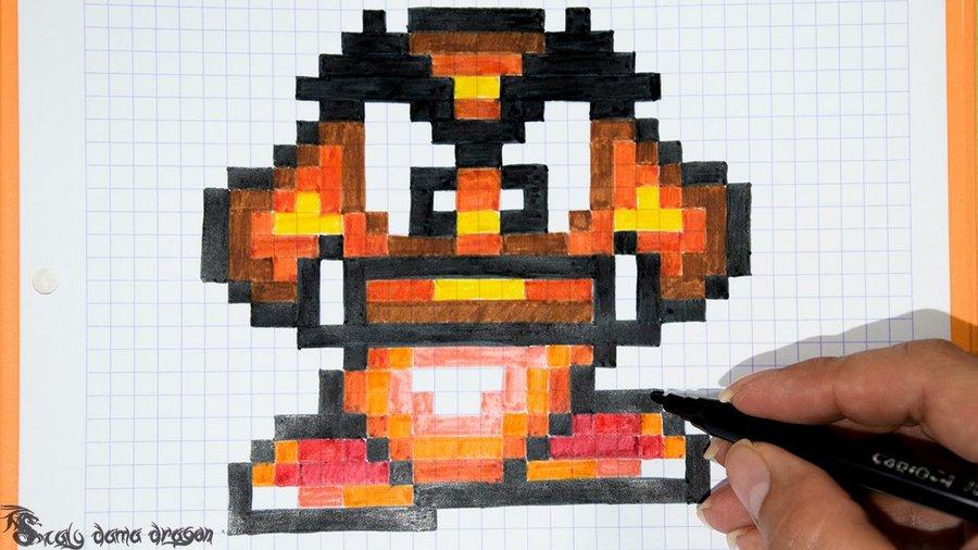 Cómo Pintar A Goomba En Cuadrícula Manualidades