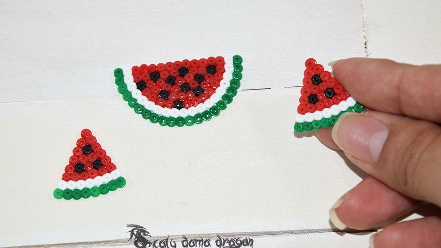 Sandia Miniatura Con Hama Beads Mini Pixel Art Manualidades