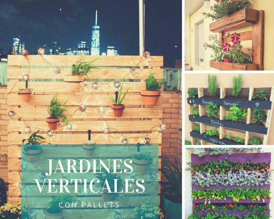 Jardines verticales con palets plantas for Jardines con palets
