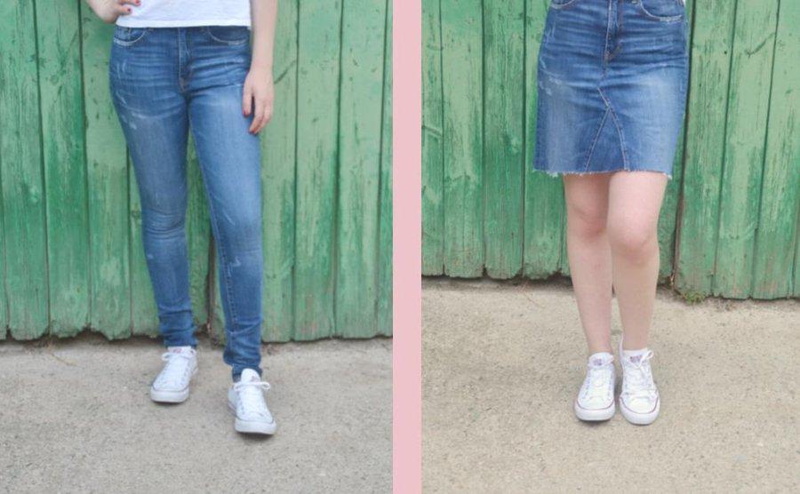Convierte Unos Viejos Jeans En Una Falda Sin Coser